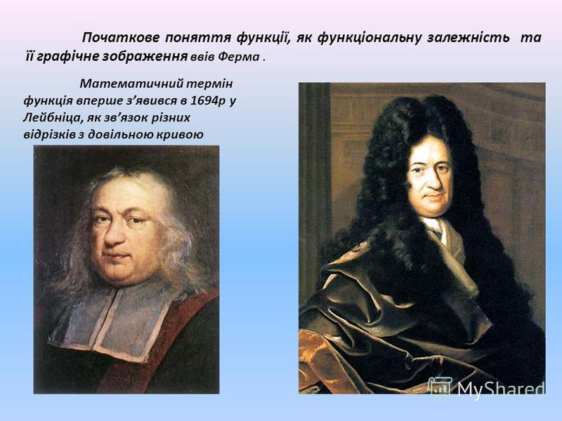 Початкове поняття функції, як функціональну залежність та її графічне зображення ввів Ферма. Математичний термін функція вперше зявився в 1694р у Лейбніца, як звязок різних відрізків з довільною кривою