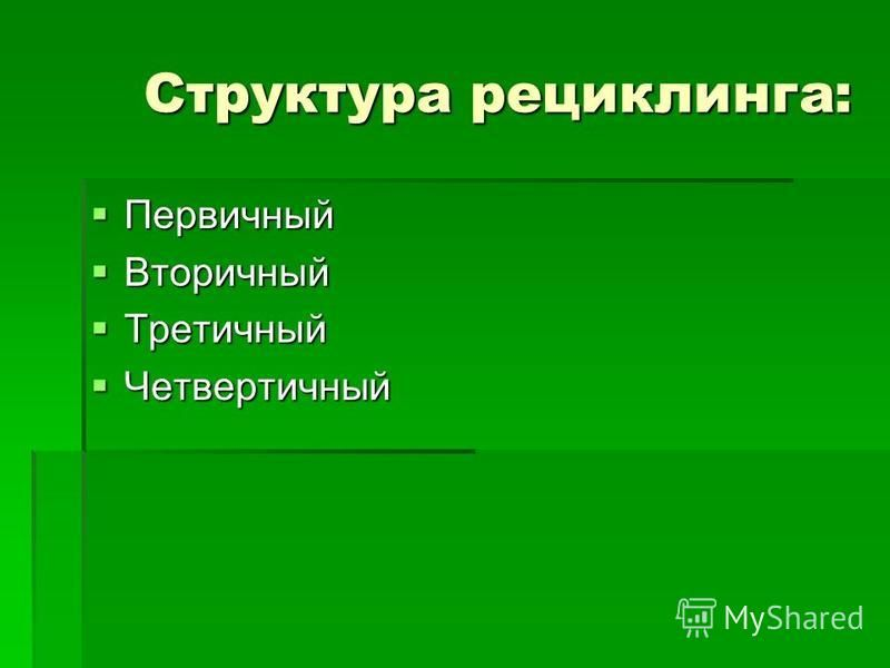 Структура рециклинга: Структура рециклинга: Первичный Первичный Вторичный Вторичный Третичный Третичный Четвертичный Четвертичный
