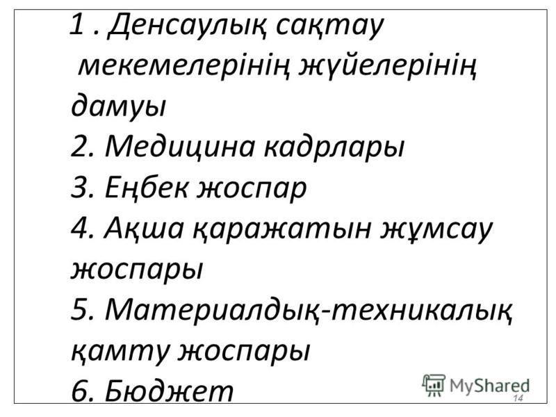 1. Денсаулық сақтау мекемелерінің жүйелерінің дамуы 2. Медицина кадр лары 3. Еңбек жоспар 4. Ақша қаражатын жұмсау жоспары 5. Материалдық-техникалық қамту жоспары 6. Бюджет 14