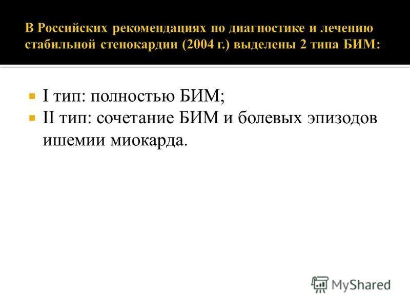 I тип: полностью БИМ; II тип: сочетание БИМ и болевых эпизодов ишемии миокарда.