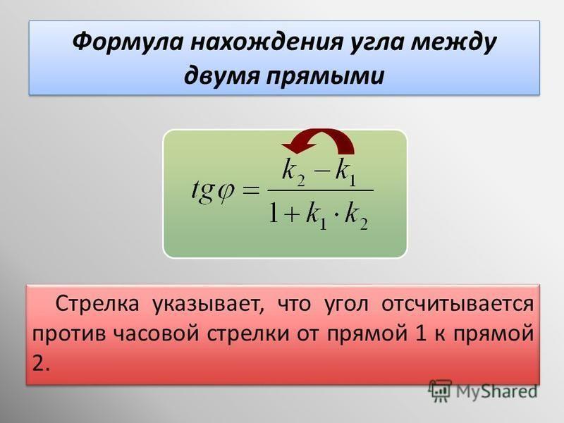 Стрелка указывает, что угол отсчитывается против часовой стрелки от прямой 1 к прямой 2. Формула нахождения угла между двумя прямыми