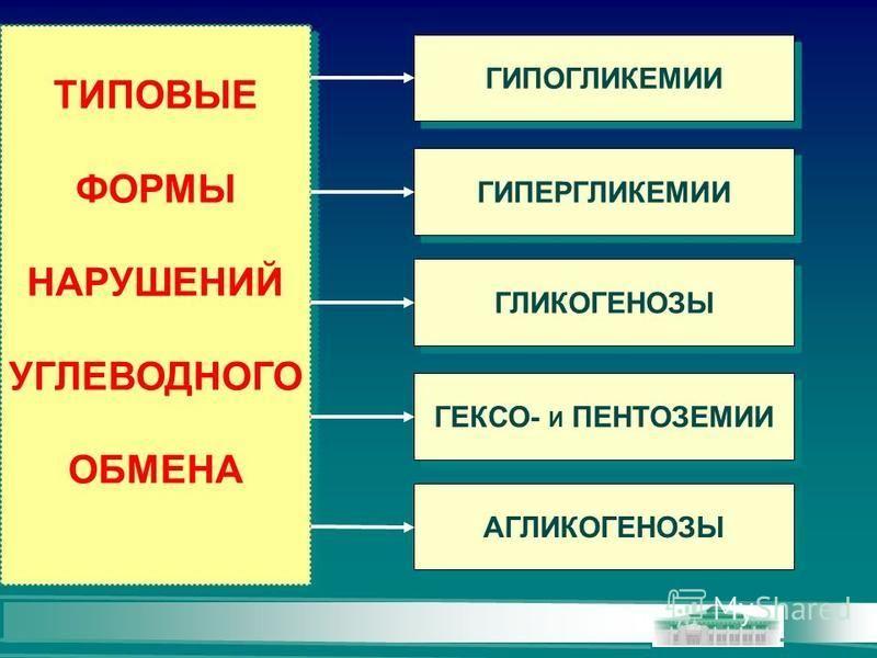 ТИПОВЫЕ ФОРМЫ НАРУШЕНИЙ УГЛЕВОДНОГО ОБМЕНА ТИПОВЫЕ ФОРМЫ НАРУШЕНИЙ УГЛЕВОДНОГО ОБМЕНА ГИПОГЛИКЕМИИ ГИПЕРГЛИКЕМИИ ГЛИКОГЕНОЗЫ ГЕКСО- И ПЕНТОЗЕМИИ АГЛИКОГЕНОЗЫ