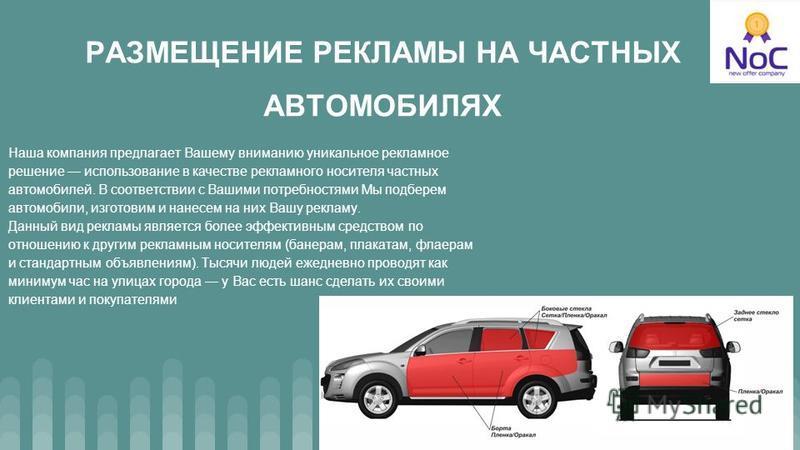 РАЗМЕЩЕНИЕ РЕКЛАМЫ НА ЧАСТНЫХ АВТОМОБИЛЯХ Наша компания предлагает Вашему вниманию уникальное рекламное решение использование в качестве рекламного носителя частных автомобилей. В соответствии с Вашими потребностями Мы подберем автомобили, изготовим