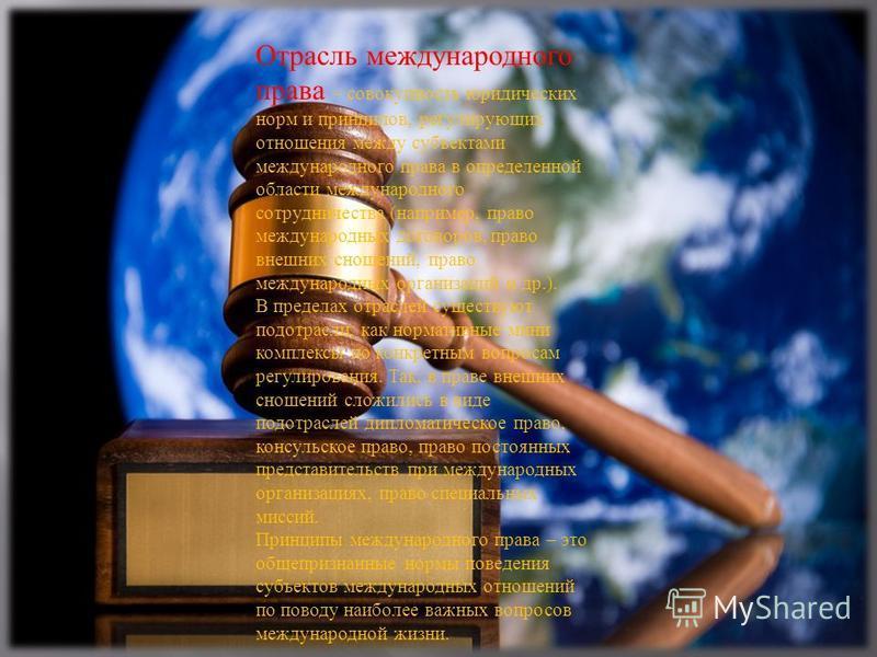 Отрасль международного права – совокупность юридических норм и принципов, регулирующих отношения между субъектами международного права в определенной области международного сотрудничества ( например, право международных договоров, право внешних сноше