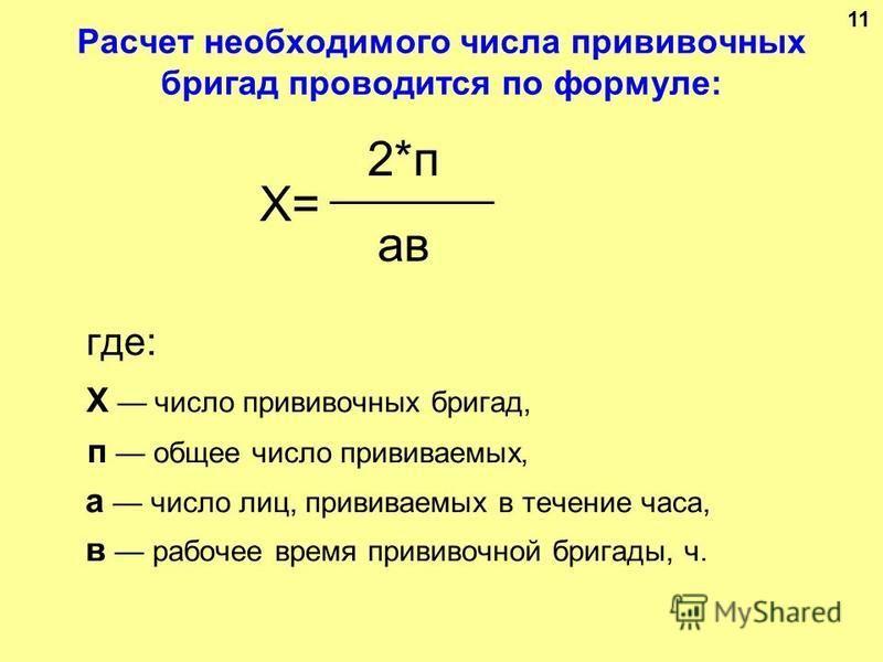Расчет необходимого числа прививочных бригад проводится по формуле: где: X число прививочных бригад, п общее число прививаемых, а число лиц, прививаемых в течение часа, в рабочее время прививочной бригады, ч. X= 2*п aвaв 11