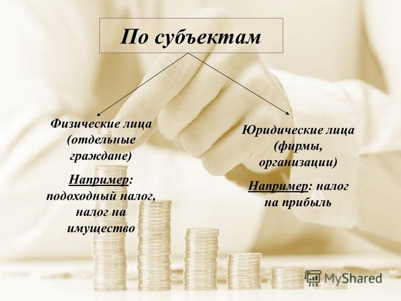 По субъектам Юридические лица (фирмы, организации) Например: налог на прибыль Физические лица (отдельные граждане) Например: подоходный налог, налог на имущество