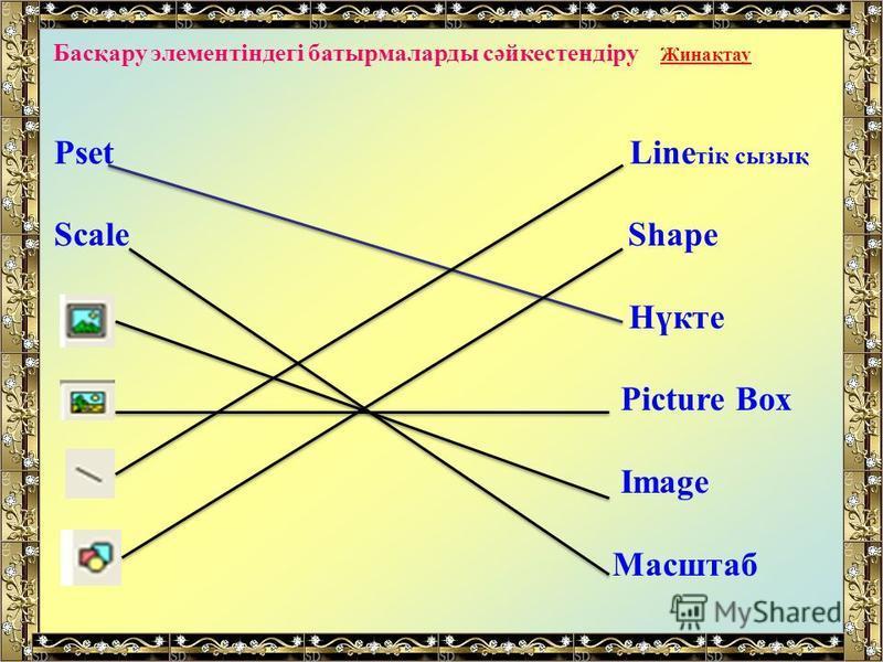 Басқару элементіндегі батырмаларды сәйкестендіру Жинақтау Pset Line тік сызық Scale Shape Нүкте Picture Box Image Масштаб