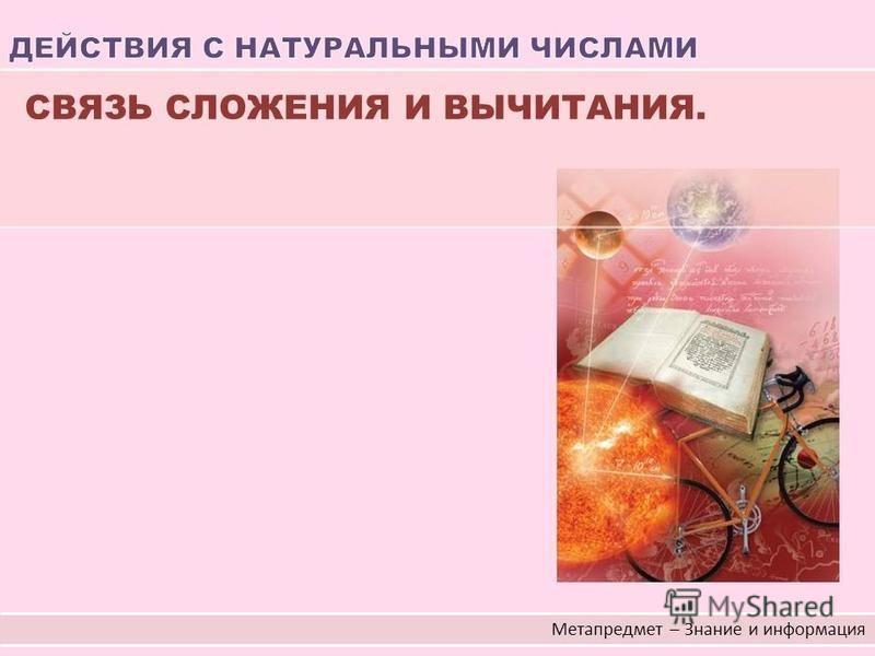Метапредмет – Знание и информация СВЯЗЬ СЛОЖЕНИЯ И ВЫЧИТАНИЯ.