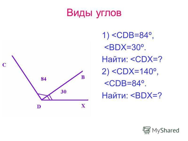 Виды углов 1) <CDB=84º, <BDX=30º. Найти: <CDX=? 2) <CDX=140º, <CDB=84º. Найти: <BDX=?