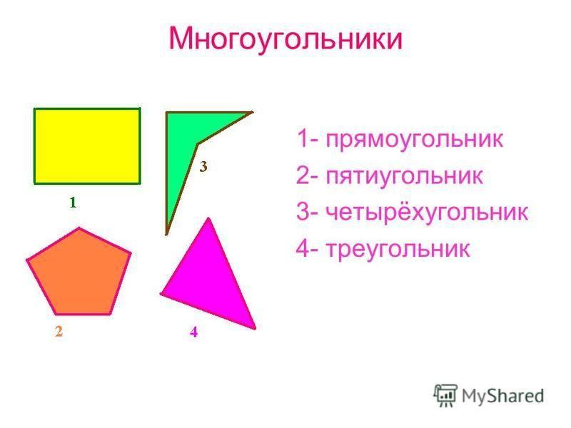 Многоугольники 1- прямоугольник 2- пятиугольник 3- четырёхугольник 4- треугольник
