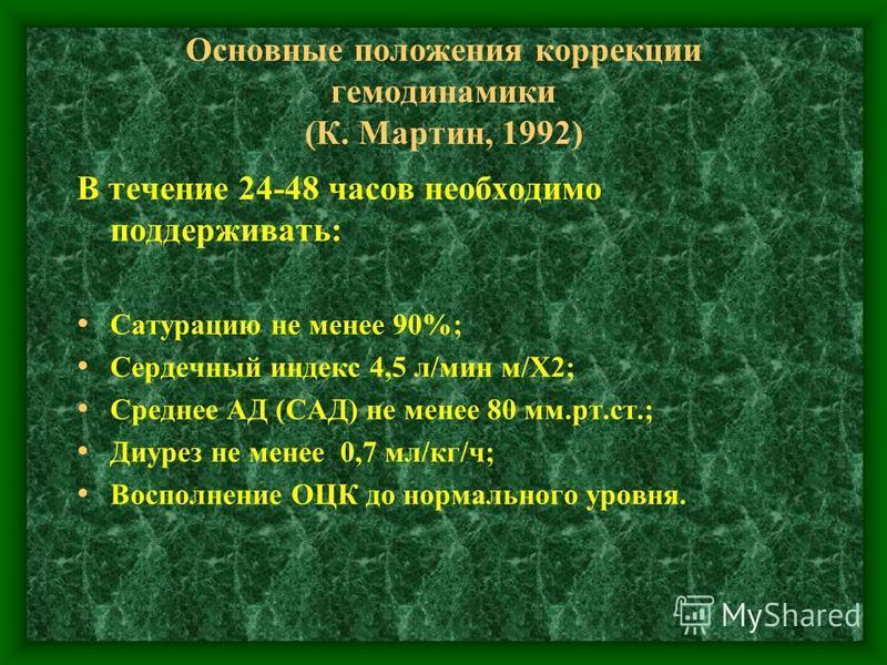 Основные положения коррекции гемодинамики (К. Мартин, 1992) В течение 24-48 часов необходимо поддерживать: Сатурацию не менее 90%; Сердечный индекс 4,5 л/мин м/Х2; Среднее АД (САД) не менее 80 мм.рт.ст.; Диурез не менее 0,7 мл/кг/ч; Восполнение ОЦК д