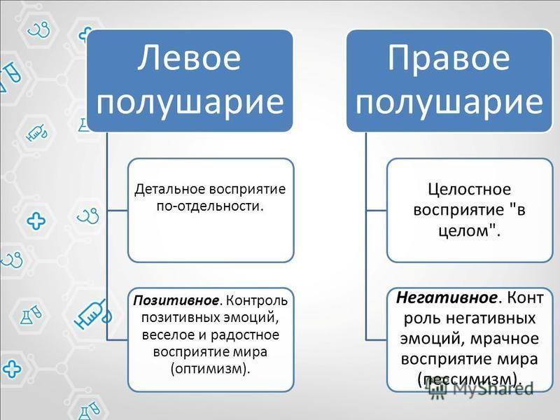 Левое полушарие Детальное восприятие по-отдельности. Позитивное. Контроль позитивных эмоций, веселое и радостное восприятие мира (оптимизм). Правое полушарие Целостное восприятие