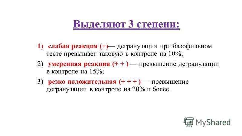 Выделяют 3 степени: 1) слабая реакция (+) дегрануляция при базофильном тесте превышает таковую в контроле на 10%; 2) умеренная реакция (+ + ) превышение дегрануляции в контроле на 15%; 3) резко положительная (+ + + ) превышение дегрануляции в контрол