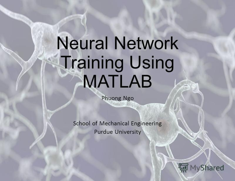 Neural Network Training Using MATLAB Phuong Ngo School of Mechanical Engineering Purdue University