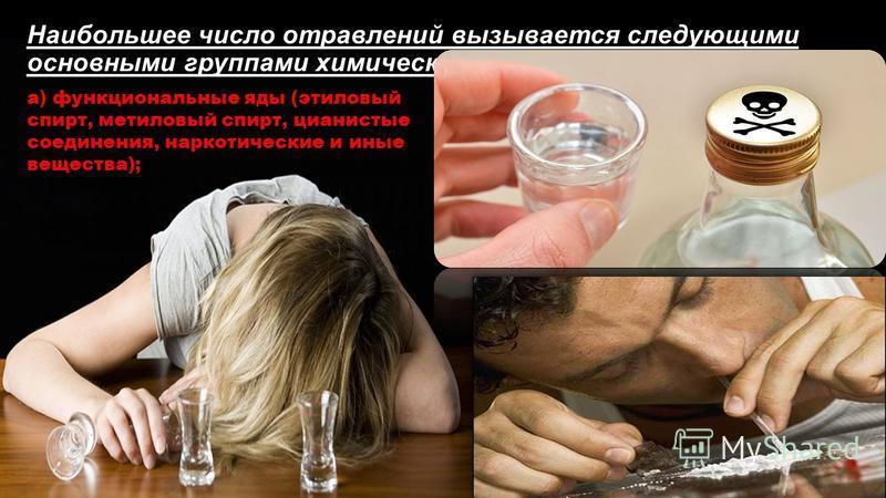 Наибольшее число отравлений вызывается следующими основными группами химических веществ: а) функциональные яды (этиловый спирт, метиловый спирт, цианистые соединения, наркотические и иные вещества);