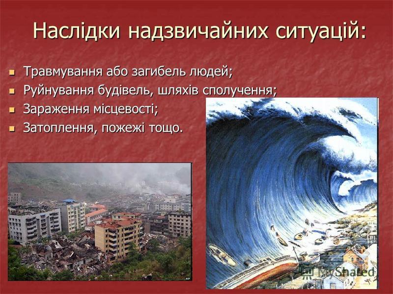 Наслідки надзвичайних ситуацій: Травмування або загибель людей; Травмування або загибель людей; Руйнування будівель, шляхів сполучення; Руйнування будівель, шляхів сполучення; Зараження місцевості; Зараження місцевості; Затоплення, пожежі тощо. Затоп