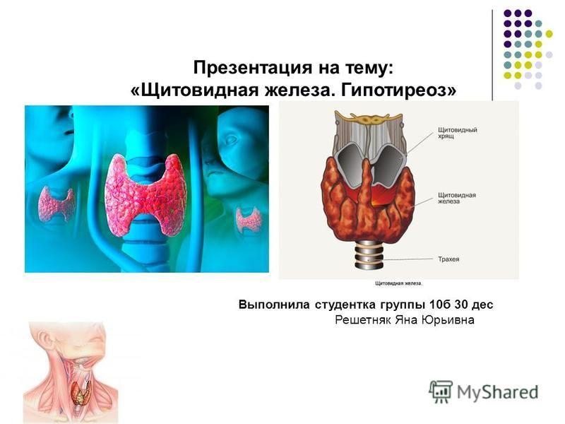 Презентация на тему: «Щитовидная железа. Гипотиреоз» Выполнила студентка группы 10 б 30 дес Решетняк Яна Юрьивна