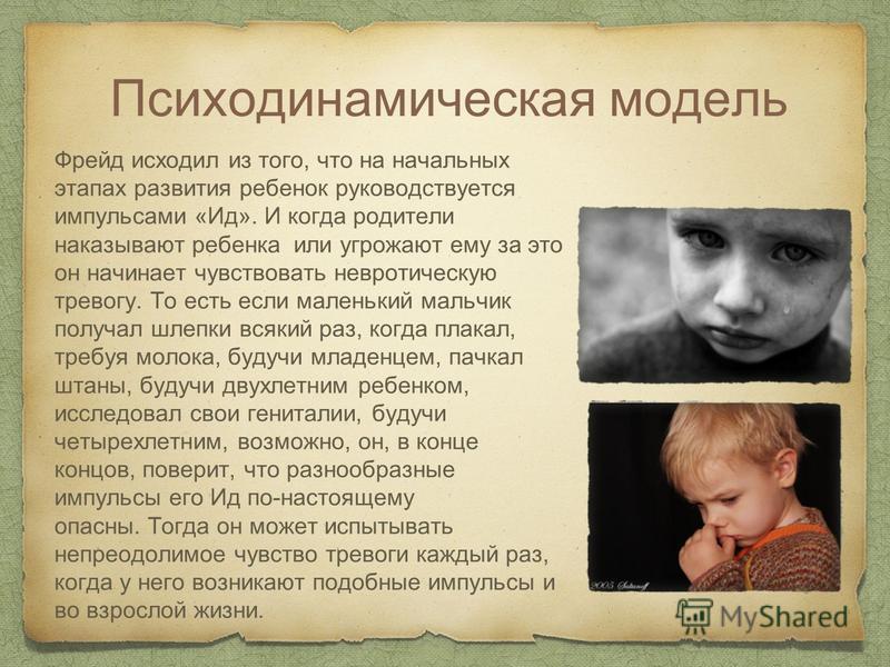 Психодинамическая модель Фрейд исходил из того, что на начальных этапах развития ребенок руководствуется импульсами «Ид». И когда родители наказывают ребенка или угрожают ему за это он начинает чувствовать невротическую тревогу. То есть если маленьки