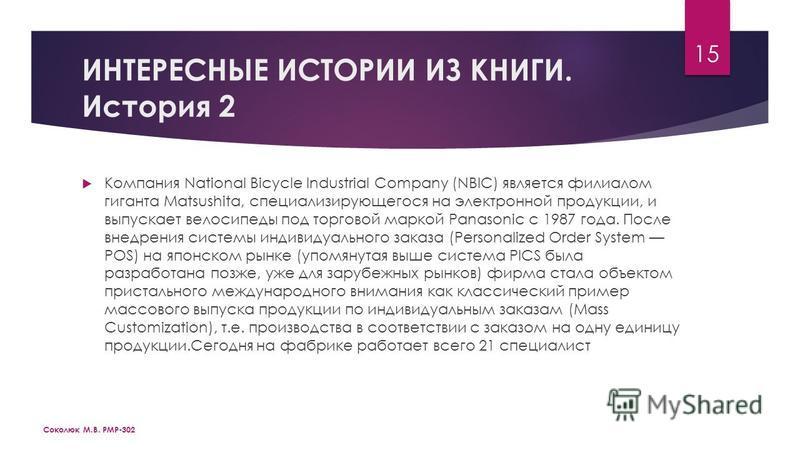 ИНТЕРЕСНЫЕ ИСТОРИИ ИЗ КНИГИ. История 2 Компания National Bicycle Industrial Company (NBIC) является филиалом гиганта Matsushita, специализирующегося на электронной продукции, и выпускает велосипеды под торговой маркой Panasonic с 1987 года. После вне