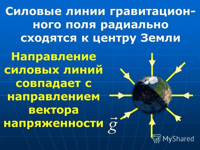 Силовые линии гравитационного поля радиально сходятся к центру Земли Направление силовых линий совпадает с направлением вектора напряженности