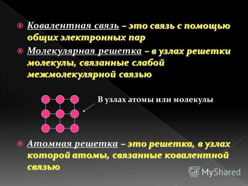 – это связь с помощью общих электронных пар Ковалентная связь – это связь с помощью общих электронных пар – в узлах решетки молекулы, связанные слабой межмолекулярной связью Молекулярная решетка – в узлах решетки молекулы, связанные слабой межмолекул