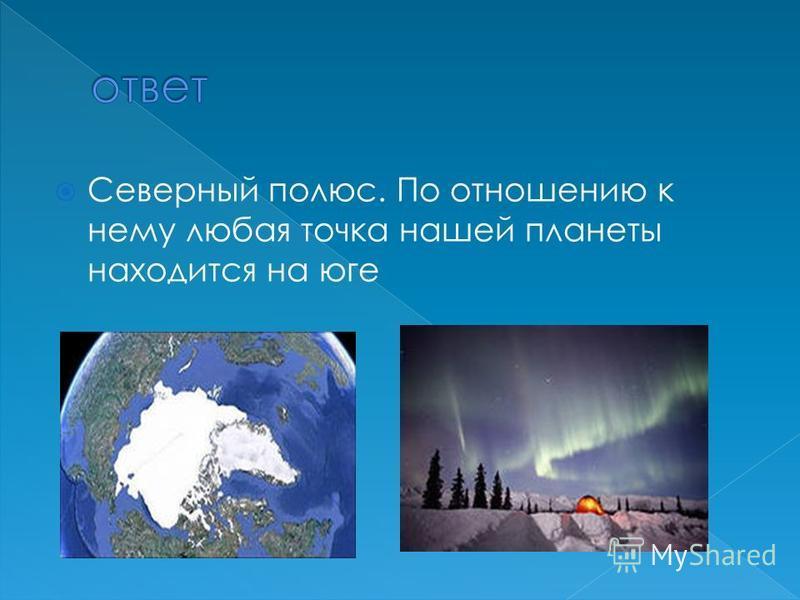 Северный полюс. По отношению к нему любая точка нашей планеты находится на юге