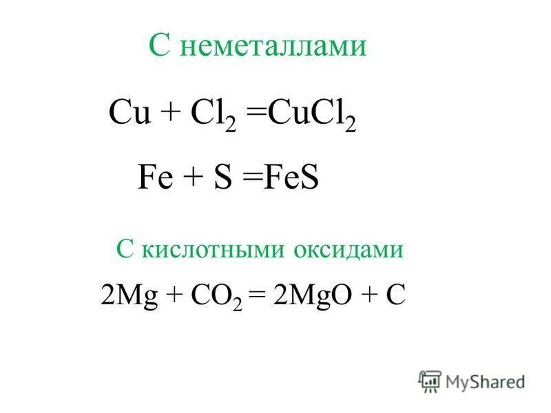Cu + Cl 2 =CuCl 2 2Mg + CO 2 = 2MgO + C С неметаллами С кислотными оксидами Fe + S =FeS