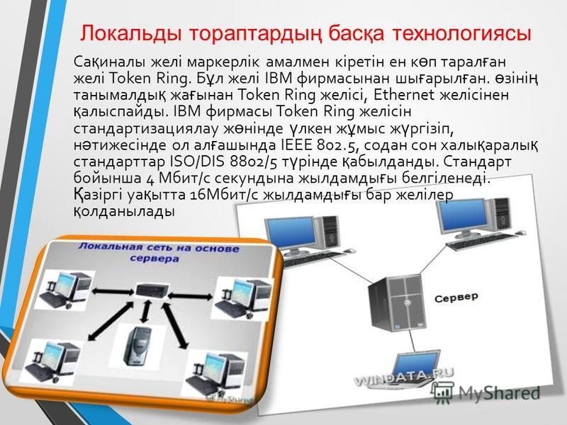 Локальды тораптардың басқа технологиясы Са қ финалы желі маркерлік амалмен кіретін ен к ө п тарал ғ ан желі Token Ring. Б ұ л желі IBM фирмасынан ши ғ арыл ғ ан. ө зіні ң таннымалды қ жа ғ ынан Token Ring желісі, Ethernet желісінен қ алыспайды. IBM ф