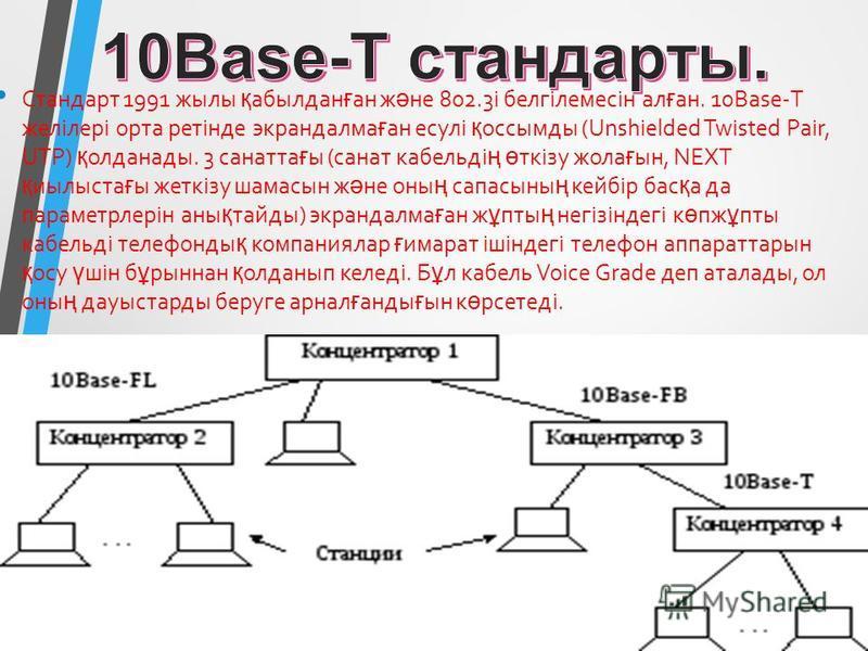 Стандарт 1991 жилы қ абылдан ғ ан ж ә не 802.3і белгілемсін ал ғ ан. 10Base-Т желілері орта ретінде экрандалма ғ ан есулі қ оссмоды (Unshielded Twisted Pair, UTP) қ олданады. 3 соната ғ ы (санта кабельді ң ө ткізу жела ғ ын, NEXT қ иылыста ғ ы жеткіз