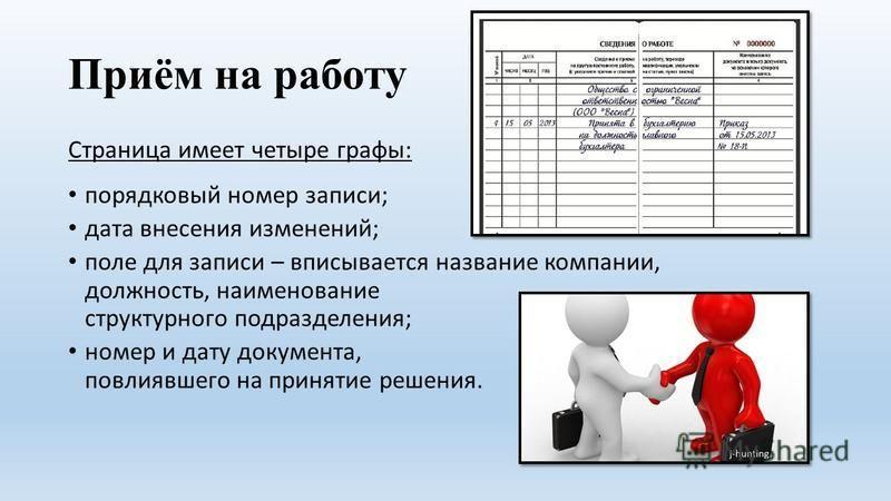Приём на работу Страница имеет четыре графы: порядковый номер записи; дата внесения изменений; поле для записи – вписывается название компании, должность, наименование структурного подразделения; номер и дату документа, повлиявшего на принятие решени
