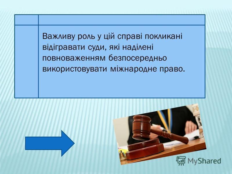 Важливу роль у цій справі покликані відігравати суди, які наділені повноваженням безпосередньо використовувати міжнародне право.