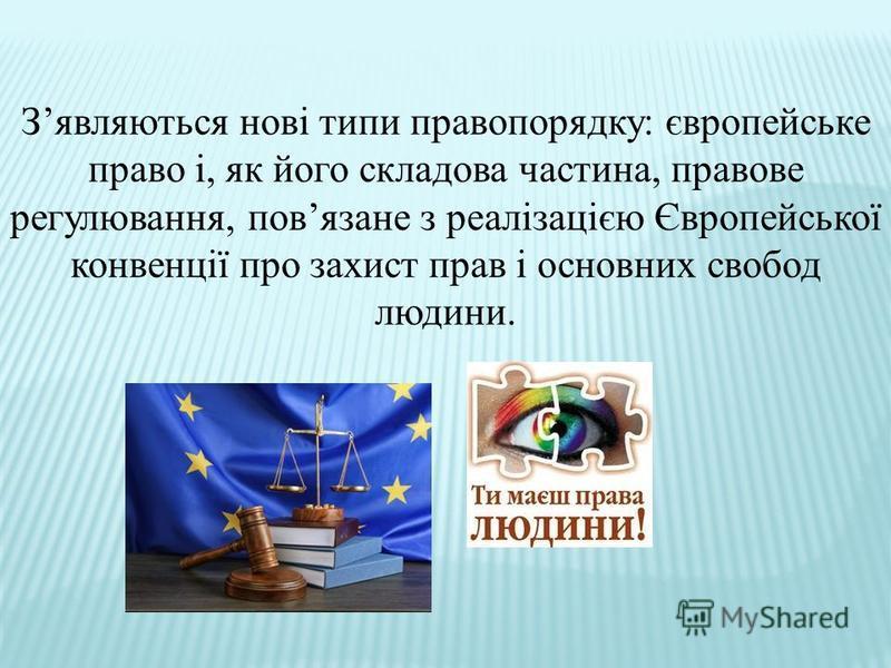 Зявляються нові типи правопорядку: європейське право і, як його складова частина, правове регулювання, повязане з реалізацією Європейської конвенції про захист прав і основних свобод людини.