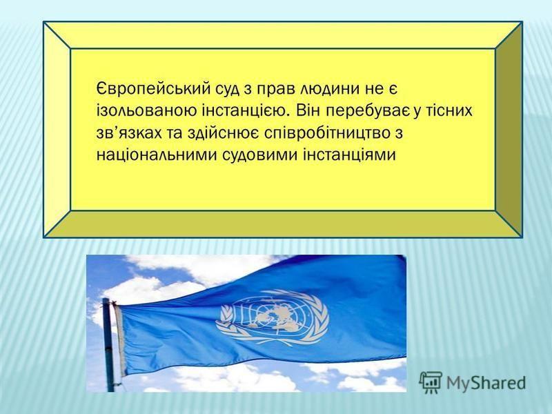 Європейський суд з прав людини не є ізольованою інстанцією. Він перебуває у тісних звязках та здійснює співробітництво з національними судовими інстанціями