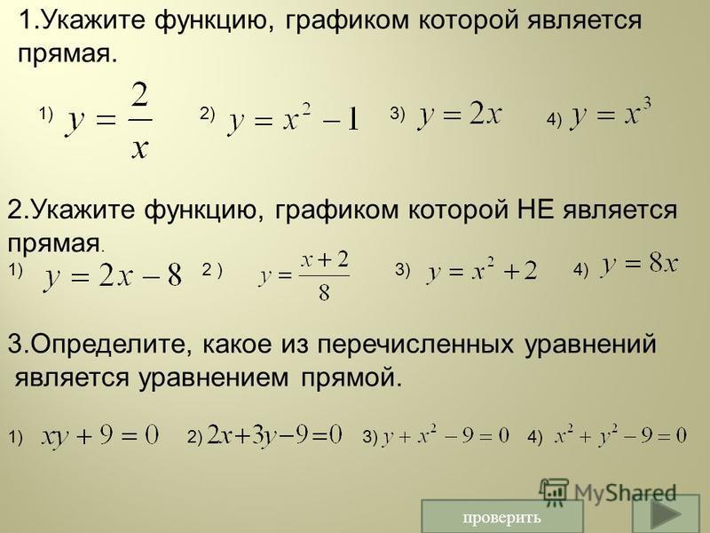проверить 1. Укажите функцию, графиком которой является прямая. 1)2)3) 4) 2. Укажите функцию, графиком которой НЕ является прямая. 1) 2 ) 3) 4) 3.Определите, какое из перечисленных уравнений является уравнением прямой. 1) 2) 3) 4)