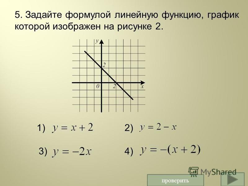проверить 5. Задайте формулой линейную функцию, график которой изображен на рисунке 2. 1)2) 3)4)