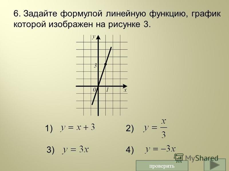 проверить 6. Задайте формулой линейную функцию, график которой изображен на рисунке 3. 1)2) 3)4)