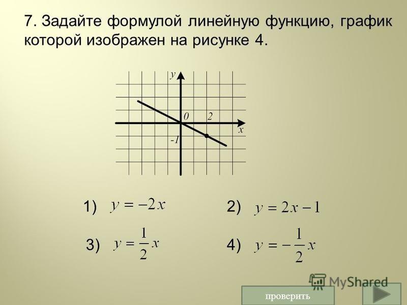 проверить 7. Задайте формулой линейную функцию, график которой изображен на рисунке 4. 1)2) 3)4)
