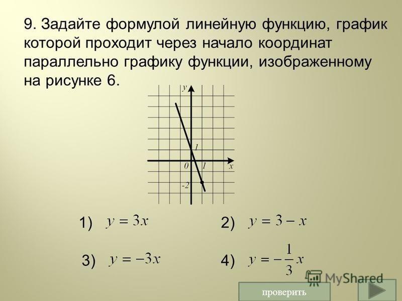 проверить 1)2) 3)4) 9. Задайте формулой линейную функцию, график которой проходит через начало координат параллельно графику функции, изображенному на рисунке 6.