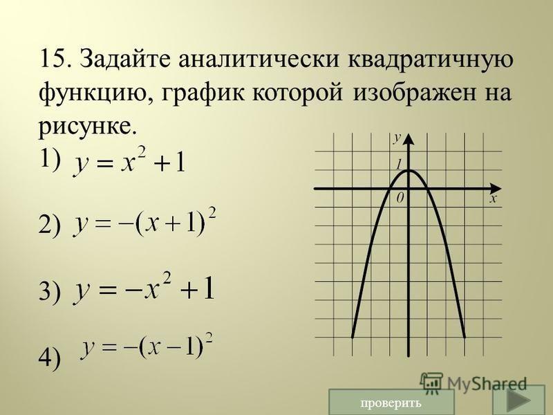 15. Задайте аналитически квадратичную функцию, график которой изображен на рисунке. 1) 2) 3) 4) проверить