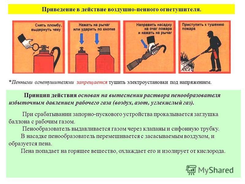 16 Приведение в действие воздушно-пенного огнетушителя. * Пенными огнетушителями запрещается тушить электроустановки под напряжением. Принцип действия основан на вытеснении раствора пенообразователя избыточным давлением рабочего газа (воздух, азот, у