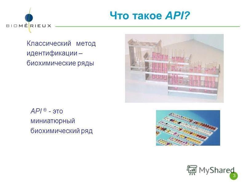 3 Что такое API? Классический метод идентификации – биохимические ряды API ® - это миниатюрный биохимический ряд