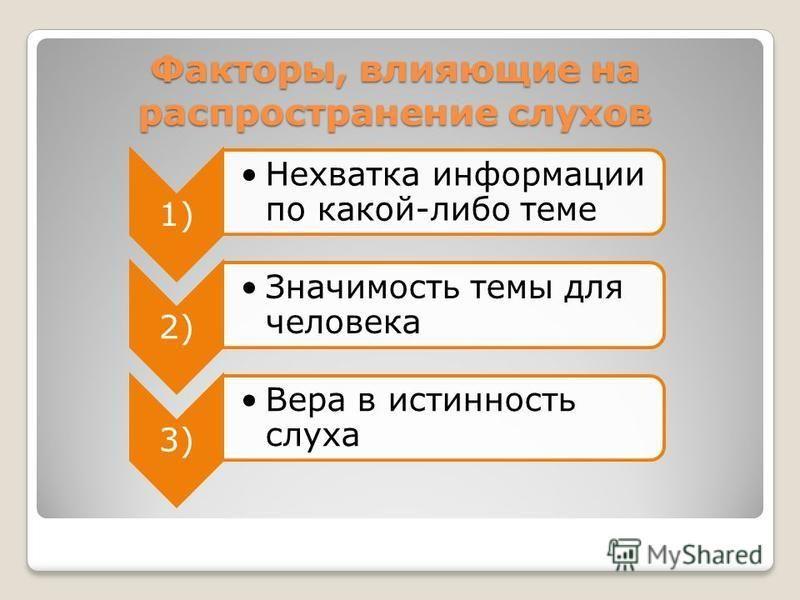 Факторы, влияющие на распространение слухов 1) Нехватка информации по какой-либо теме 2) Значимость темы для человека 3) Вера в истинность слуха