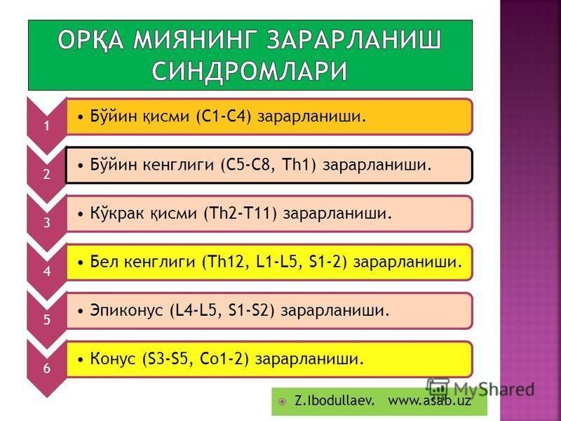 1 Бўйин қ исми (С1-С4) зарарланиши. 2 Бўйин кенглиги (С5-С8, Тh1) зарарланиши. 3 Кўкрак қ исми (Th2-T11) зарарланиши. 4 Бел кенглиги (Th12, L1-L5, S1-2) зарарланиши. 5 Эпиконус (L4-L5, S1-S2) зарарланиши. 6 Конус (S3-S5, Со1-2) зарарланиши. Z.Ibodull