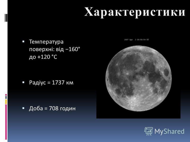 Температура поверхні: від 160° до +120 °C Радіус = 1737 км Доба = 708 годин