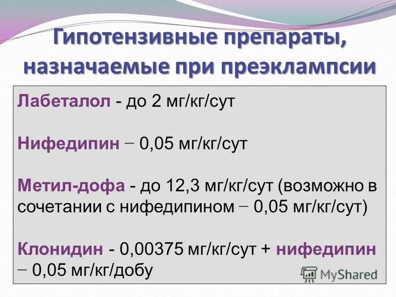 Гипотензивные препараты, назначаемые при преэклампсии Лабеталол - до 2 мг/кг/сут Нифедипин 0,05 мг/кг/сут Метил-дофа - до 12,3 мг/кг/сут (возможно в сочетании с нифедипином 0,05 мг/кг/сут) Клонидин - 0,00375 мг/кг/сут + нифедипин 0,05 мг/кг/добу