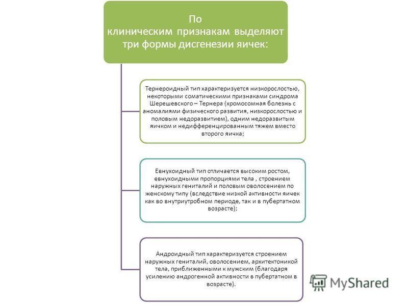 По клиническим признакам выделяют три формы дисгенезии яичек: Тернероидный тип характеризуется низкорослостью, некоторыми соматическими признаками синдрома Шерешевского – Тернера (хромосомная болезнь с аномалиями физического развития, низкорослостью