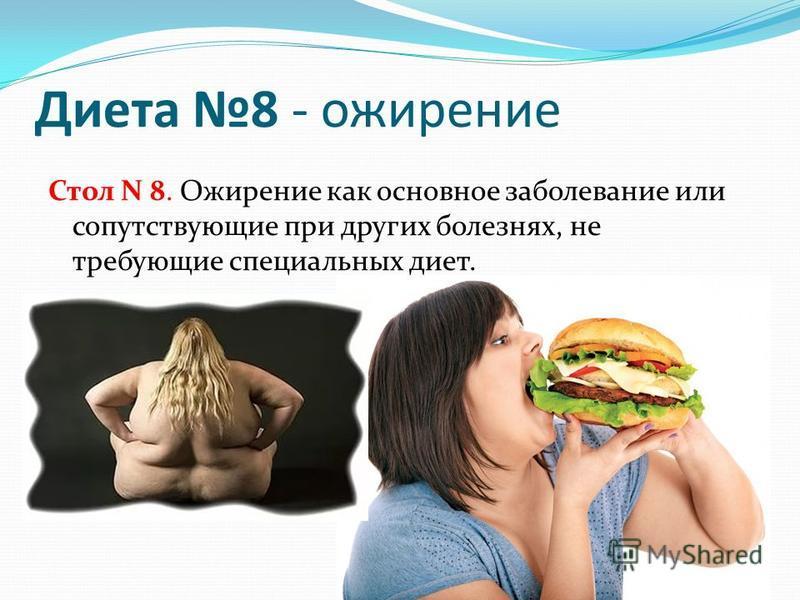 Диета 8 - ожирение Стол N 8. Ожирение как основное заболевание или сопутствующие при других болезнях, не требующие специальных диет.