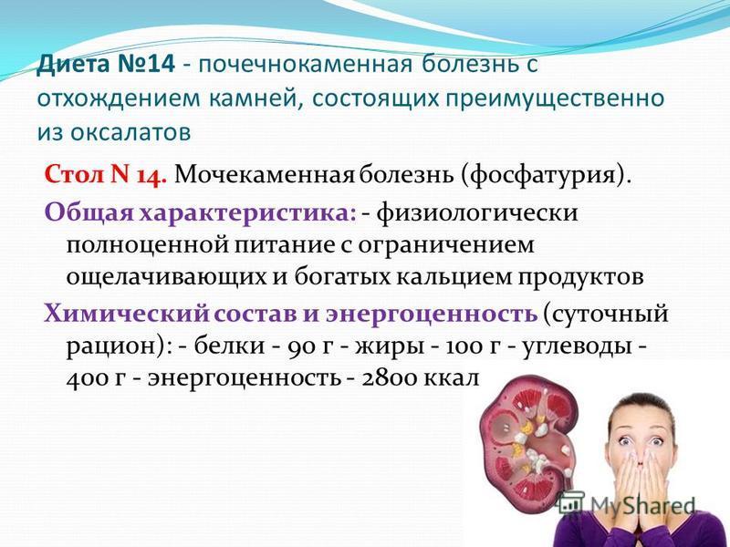Диета 14 - почечнокаменная болезнь с отхождением камней, состоящих преимущественно из оксалатов Стол N 14. Мочекаменная болезнь (фосфатурия). Общая характеристика: - физиологически полноценной питание с ограничением ощелачивающих и богатых кальцием п