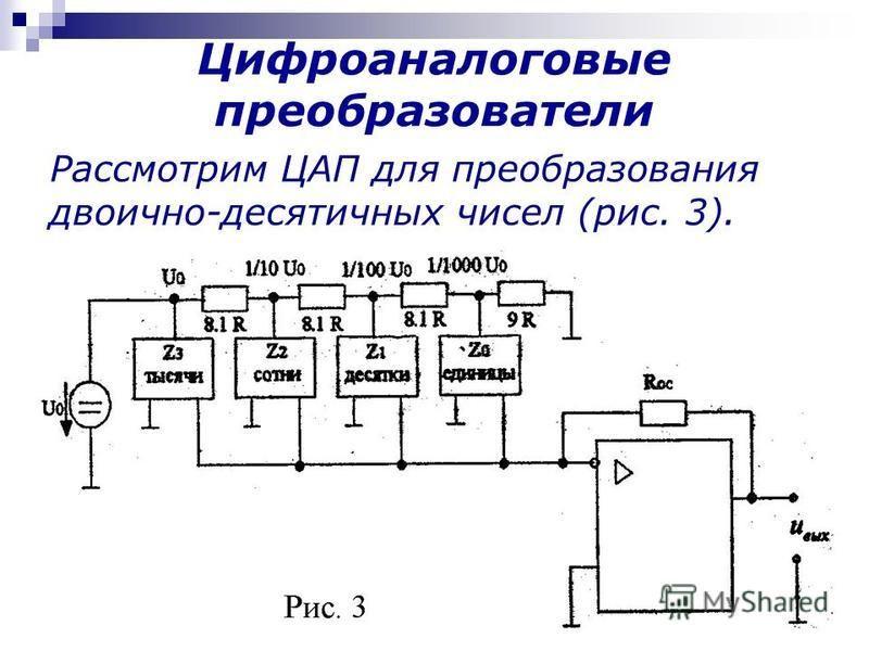 Рассмотрим ЦАП для преобразования двоично-десятичных чисел (рис. 3). Цифроаналоговые преобразователи