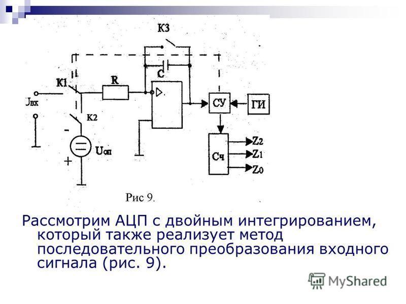 Рассмотрим АЦП с двойным интегрированием, который также реализует метод последовательного преобразования входного сигнала (рис. 9).